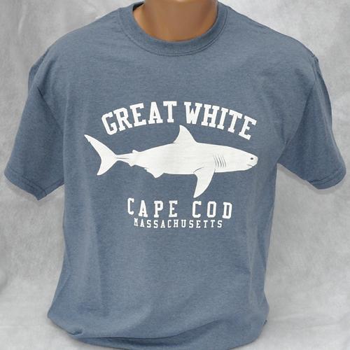 Great White Shark t-shirt - Heather Indigo - short-sleeved Unisex